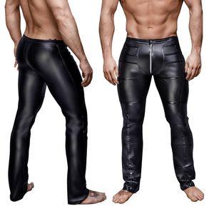 Men's Skinny Leather Pants Fashion Zipper Crotch Faux Leather Leggings Male Trousers Stage Club Wear Biker Punk Gothic Pants