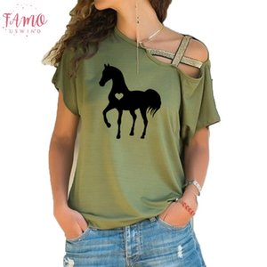 Heart Horse Shirt Horse Tshirt Gift For Horse Lover Equestrian Gifts Clothing Birthday Party Irregular Skew Cross Bandage Tees