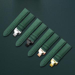 De pulseira de couro pulseira de relógio verde borboleta Fecho pulseira 10 12 13 14 15 16 17 18 19 20 21 22 faixa de relógio de 24 milímetros