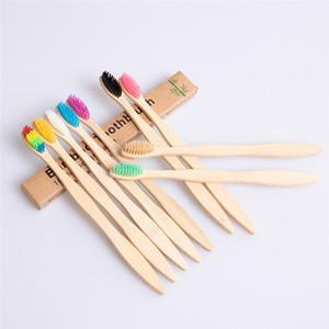 Cepillo de dientes de mango de bambú natural Rainbow Colorido Cerdas suaves Cepillo 10 colores con paquete de caja de calidad superior