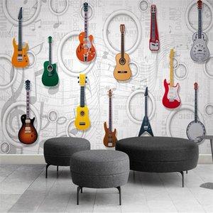 mural papel parede Custom wallpaper Guitar music equipment KTV bar 3D three-dimensional tooling wall papier peint behang