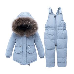Kış Ceket Çocuk tulumları Kız Çocuk snowsuit Erkek Bebek Kız Parka Coat Aşağı Ceket + tulum Bebek Giyim Seti için