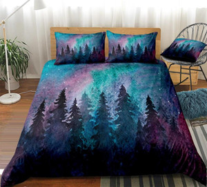 Cor cama Set roxo Galaxy edredon cobrir Set Floresta Lençois Árvores Bedclothes Sunrise Camas Nature Home Textile