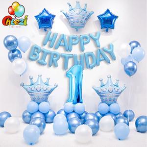 1 Set Blu Rosa Corona compleanno palloncini Numero Foil Palloncino per doccia ragazza del neonato 1 ° festa di compleanno Decorazione bambini T200104