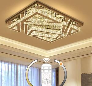 حديثة مستطيل الكريستال أضواء السقف غرفة المعيشة الفاخرة الثريا السقف تركيبات الشمعدانات مصباح غرفة نوم الإضاءة AC 110V-240V LLFA