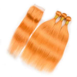 Pérou Couleur Orange droite Bundles cheveux avec fermeture orange Pure Human Hair 3Bundles avec fermeture orange dentelle fermeture 4x4 avec Tissages