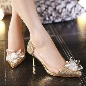 Scarpe da sposa di sliver lucido Scarpe da sposa in cristallo High Dancing Party Scarpe di marca Diamond Sloe Donne Pompe Tacco alto Scarpe da tacco alto a punta 7.5cm Stilotto Tacco