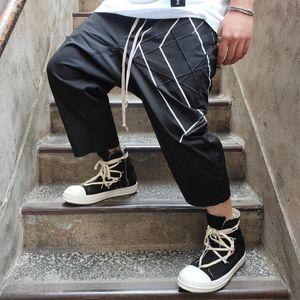 Pantalón Ropa de Verano longitud de la rodilla floja del tamaño Negro Corto Owen Seak Hombres Casual Harem Pantalones cortos de algodón para hombres gótica XL