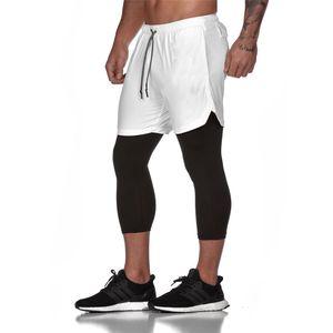 Pantalones cortos para correr para hombre polainas y pantalones cortos de los pantalones 2 en 1 pantalón de deporte gimnasia de cortos del basculador Formación Crossfit Ropa T200704