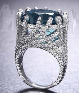YaYI Jewelry Fashion Princess Cut Huge 13 CT 18*18mm Green Zircon Silver Color Engagement Set Rings wedding Rings Party Rings