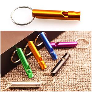 Mini sifflet en aluminium porte-clés Chiens formation Keychain Whistle randonnée en plein air de survie Portable Petit sifflet Porte-clés personnalisés BH2837 TQQ