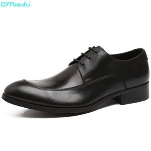 QYFCIOUFU nuovi fatti a mano uomini Pattini convenzionali del cuoio genuino Oxford Scarpe a punta arrotondata Brown Flats abito da sposa Calzature nere