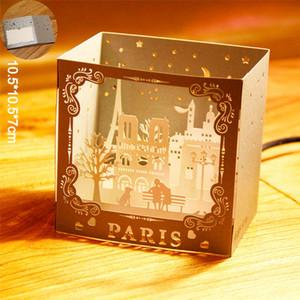 Buon compleanno 3D fino a mano Parigi Cartoline Laser Cut d'auguri Amore gratta e vinci di carta Famous City Night View