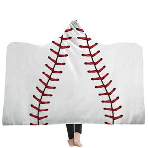 5 Styles Basketball Baseball Rugby Football Motif 3D Imprimé en peluche avec capuche couverture pour homme Wearable doux couvertures en molleton Throw