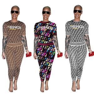 Livraison Gratuite Femmes Mode Lettre Survêtement Survêtement Casual Col Ras Du Cou T-shirt + Pantalon Deux Pièces Ensemble Lady Outfits 3XL Plus