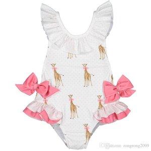 Retail 2019 Summer New Girl Swimwear With Hat Children Cartoon Giraffe Bow Kids Cute Swimsuit Clothing 2-7Y E6018