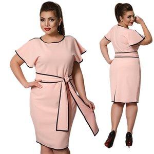 Womens abiti firmati abiti 5Xl 6XL 2019 Plus Size Womens Vestiti estivi Grandi Dimensioni vestito elegante della molla Ufficio partito del vestito con la cinghia