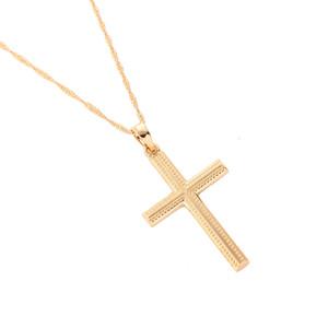Nouvelle Mode Simple Croix Collier Jésus Pièce Pendentif Or Couleur En Laiton Hommes Chaîne Bijoux Cadeaux De Noël