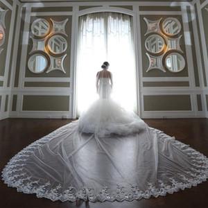 2020 Özelleştirilmiş Sequins Gelin Veils Aplikler Dantel Kenar Tek Katmanlı Allık Veils Uzun Tül Düğün Veils