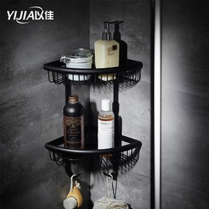 Bathroom Hardware Corner Shelf 3 Layer Creative BlackBrass Wall Triangular rack