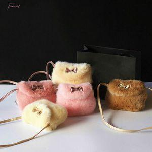 Soft Faux Fur Kids Handbag Cute Baby Girls Mini Bowknot Crossbody Bags Small Shoulder Bag Purse Wallet White Pink Bag