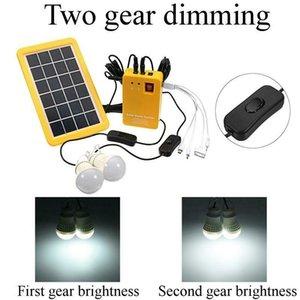 Illuminazione del pannello solare Kit 4 in 1 Solar Charger Sistema Home DC con 2 LED Buld