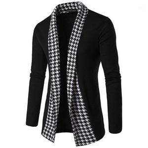Diseñador de prendas de vestir exteriores de la puntada abierta ocasional por completo abrigos para hombre Moda felpa Luxuy Ropa para Hombres tela escocesa del remiendo de los hombres