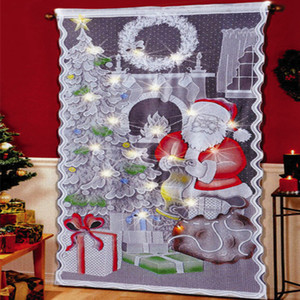 Led Christmas Snowman Curtains Simple Vertical Lace fabric Curtains Living Room Bedroom Party Smooth Curtains Decoration 101*213cm RRA2344