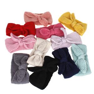 Cute Baby Girl Fasce Knitted Newborn Baby Bows Haarband Turbante Fasce per la testa infantili Hairbands Per Bambini Ragazze coniglio accessori per capelli dell'orecchio