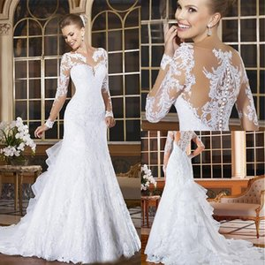 Latest Elegant Lace Dresses Wed Dress Sheath Applique Casual Covered Button Long Sleeve Wedding Dresses Court Train Bridal Gowns