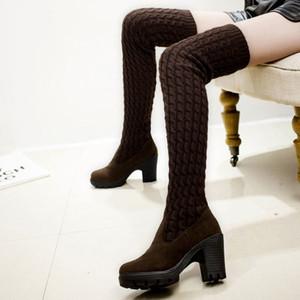 scarpe donna lavorato a maglia lunghi stivali tacco alto spessore nel corso calza invernale femminile stivali al ginocchio di lana alla coscia alta