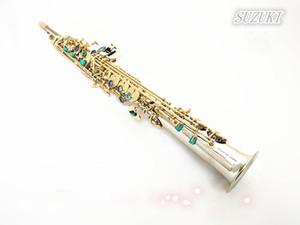Япония Suzuki прямой Сопрано саксофон Посеребренные Bb музыкальный инструмент Рид. Мундштук. Дело Бесплатная доставка