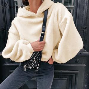 Teddy Bear Simenual Mulheres velo Hoodies Quente Sólidos Moda Outono Inverno camisolas casual Mulheres 2019 Básico Casual Magro com capuz T191125