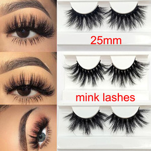 Wholesale long dramatic mink lashes 25mm real mink eyelashes 25MM 3D mink big eyelashes costom box