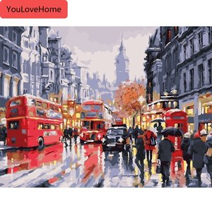 Oil Painting City Street Painting By Numbers Paint Canvas Picture Modern People Bus Diy Landscape Hand Painted Handpainted Painting