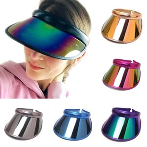 Women Summer Empty Top Sun Visor Hat Rainbow Plastic Panel UV Protection Angle Large Wide Brim Motorcycle Beach Baseball Cap#3