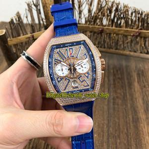 Meilleure collection MEN version VANGUARD V CC 45 DT YACHT diamants Cadran Miyota Quartz Chronographe Mens montre en or rose diamant Montres de luxe