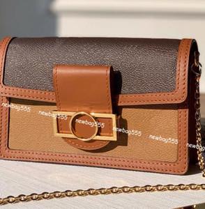 Mujeres favoritos mini bolso de cadena Dauphine monederos del cuero auténtico bolso crossbody de impresión inversa bolsas de hombro cartera woc garras de la vendimia 68476