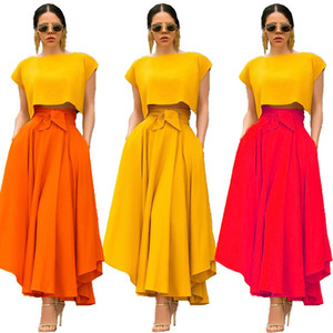 Womens Designer Bow Belt Skirts Womens Fashion Asymmetrical Long Skirts Elegant Womens Casual Skirts Females Clothing