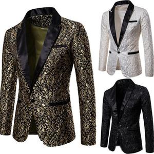 Slim Fit giacca sportiva degli uomini 2019 nuovo arrivo Mens floreali Blazers floreale del vestito da promenade Blazers cerimonia nuziale eleganti giacca e vestito degli uomini Jacket