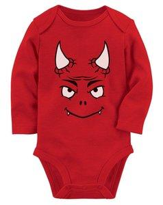 17 18 neue Halloweenne Einfaches Kostüm Cute Little Red Devil Baby-Langarm-Strampler Lustig