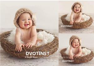 Fotoğraf Prop Atış Dvotinst Yenidoğan Bebek Fotoğraf Dikmeler Rattan Yuvarlak Nest Sepet Fotografia Aksesuarları Bebek Studio