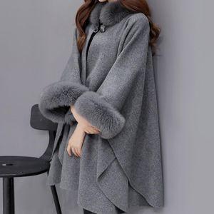 das mulheres Faux Fur Collar capa de lã Coats Casual Quente soltas Longo Feminino Jacket Winter Fashion lã Blends Cashmere Ladies
