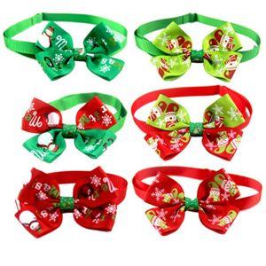 Noël Pet Tie Chien Chat Bow Rouge Vert Bonhomme de neige flocon de neige Collier d'impression Accueil et à l'extérieur Utilisez 1 15xf H1