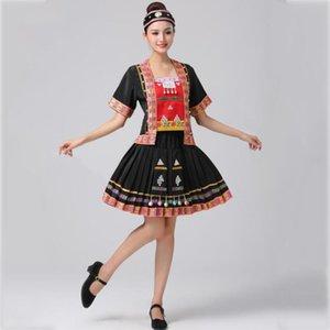 danse folklorique chinoise vêtements costume performance scénique chanteur brodé vêtements de danse du festival des minorités ethniques Hani