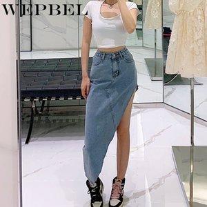 Straight Denim Jeans falda de cintura alta de la calle Botón de WEPBEL Mujeres sólido de color Ropa Nueva hendidura dril de algodón de la falda de la manera atractiva