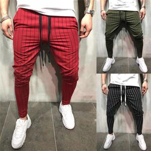 Мужские брюки Тощего Фитнес Мужчина Drawstring Брюки Причинная Полосатый Бег карандаш брюки мужская мода одежда
