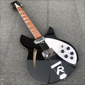 330 12 cuerdas Gloss Black Semi Hollow Cuerpo de guitarra eléctrica Barniz de barniz de palisandón de laca, 2 pastillas de tostadora, dos tomas de salida