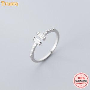 Trustdavis Moda Genuine 925 Sterling Silver doce Dazzling CZ vara Abertura dedo para Mulheres Meninas Jóias presente DA558