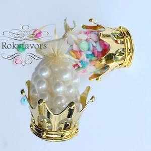 100PCS Golden Crown Container with Organza Bag Favors Wedding Candy Package Bridal Shower Event Table Reception Decors Crown Candy Holder